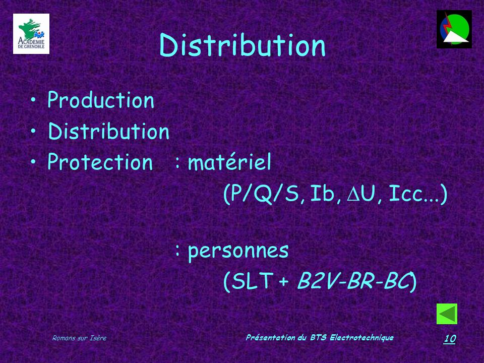 Romans sur Isère Présentation du BTS Electrotechnique 10 Distribution Production Distribution Protection : matériel (P/Q/S, Ib, U, Icc...) : personnes