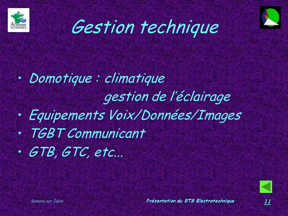 Romans sur Isère Présentation du BTS Electrotechnique 11 Gestion technique Domotique : climatique gestion de léclairage Equipements Voix/Données/Image