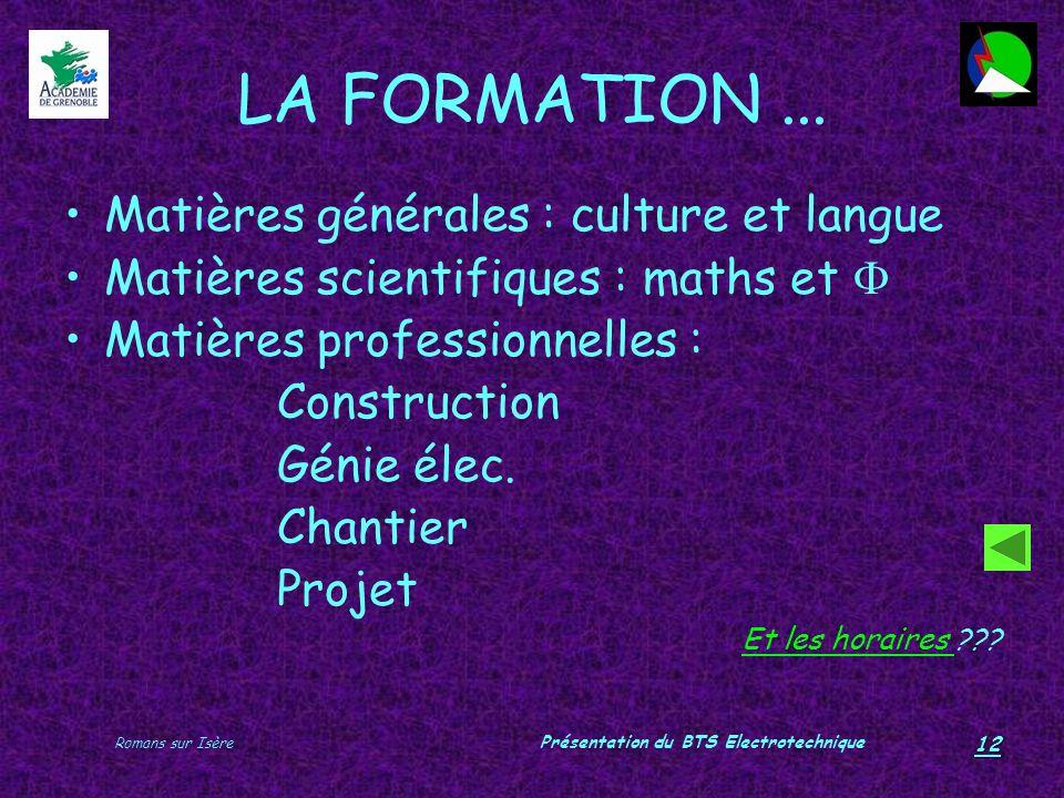 Romans sur Isère Présentation du BTS Electrotechnique 12 LA FORMATION... Matières générales : culture et langue Matières scientifiques : maths et Mati