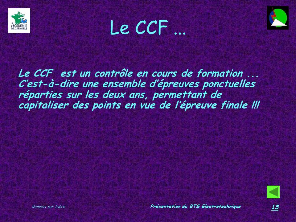 Romans sur Isère Présentation du BTS Electrotechnique 15 Le CCF... Le CCF est un contrôle en cours de formation... Cest-à-dire une ensemble dépreuves