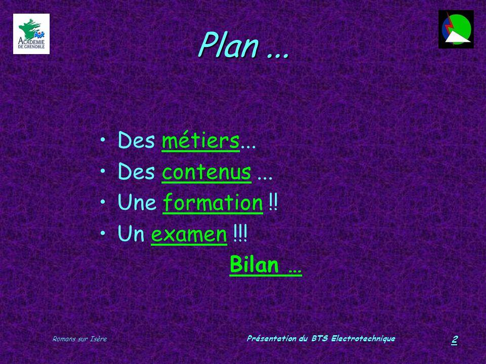 Romans sur Isère Présentation du BTS Electrotechnique 2 Plan... Des métiers...métiers Des contenus...contenus Une formation !!formation Un examen !!!e