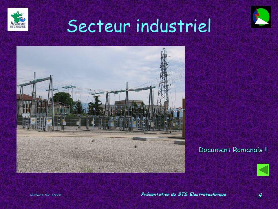 Romans sur Isère Présentation du BTS Electrotechnique 4 Secteur industriel Document Romanais !!