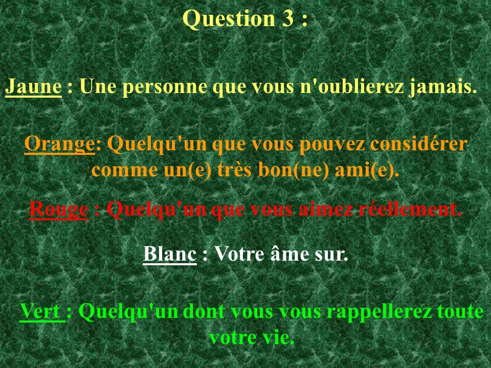Question 3 : Jaune : Une personne que vous n'oublierez jamais. Orange: Quelqu'un que vous pouvez considérer comme un(e) très bon(ne) ami(e). Rouge : Q