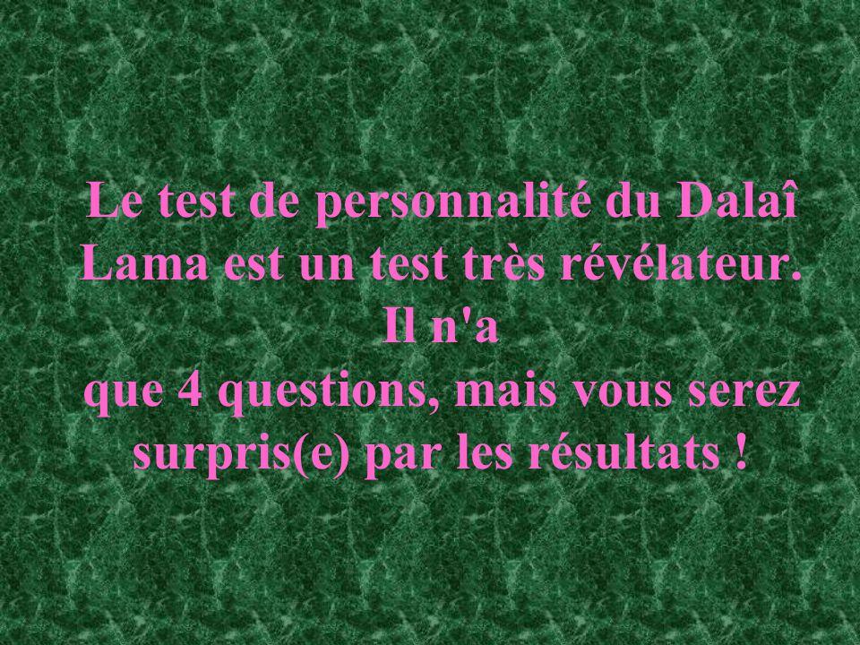 Le test de personnalité du Dalaî Lama est un test très révélateur. Il n'a que 4 questions, mais vous serez surpris(e) par les résultats !