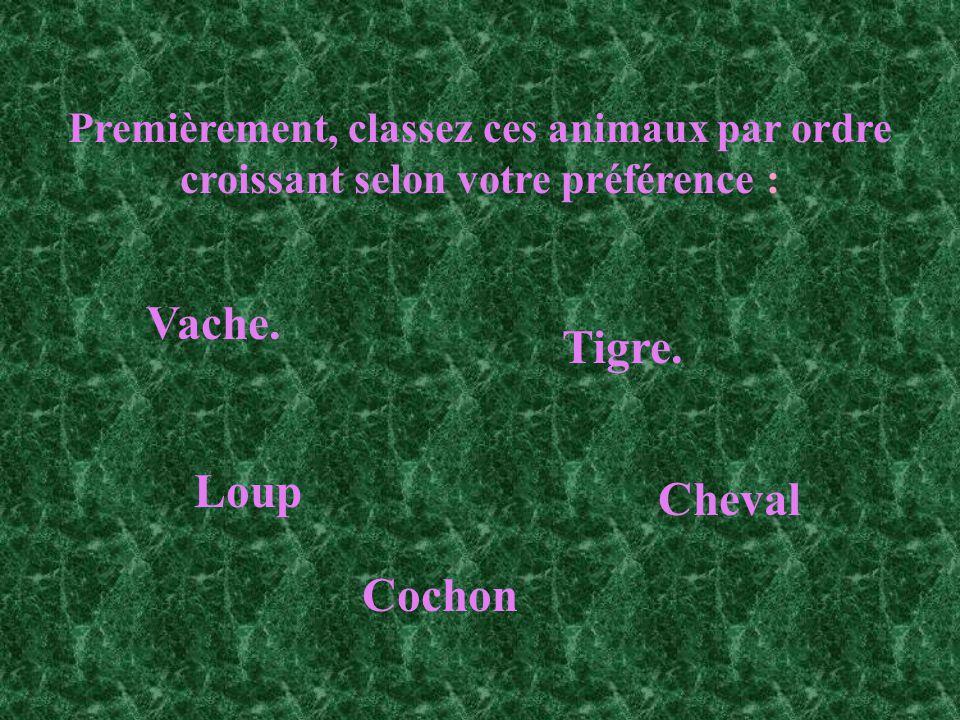 Premièrement, classez ces animaux par ordre croissant selon votre préférence : Vache. Tigre. Loup Cheval Cochon