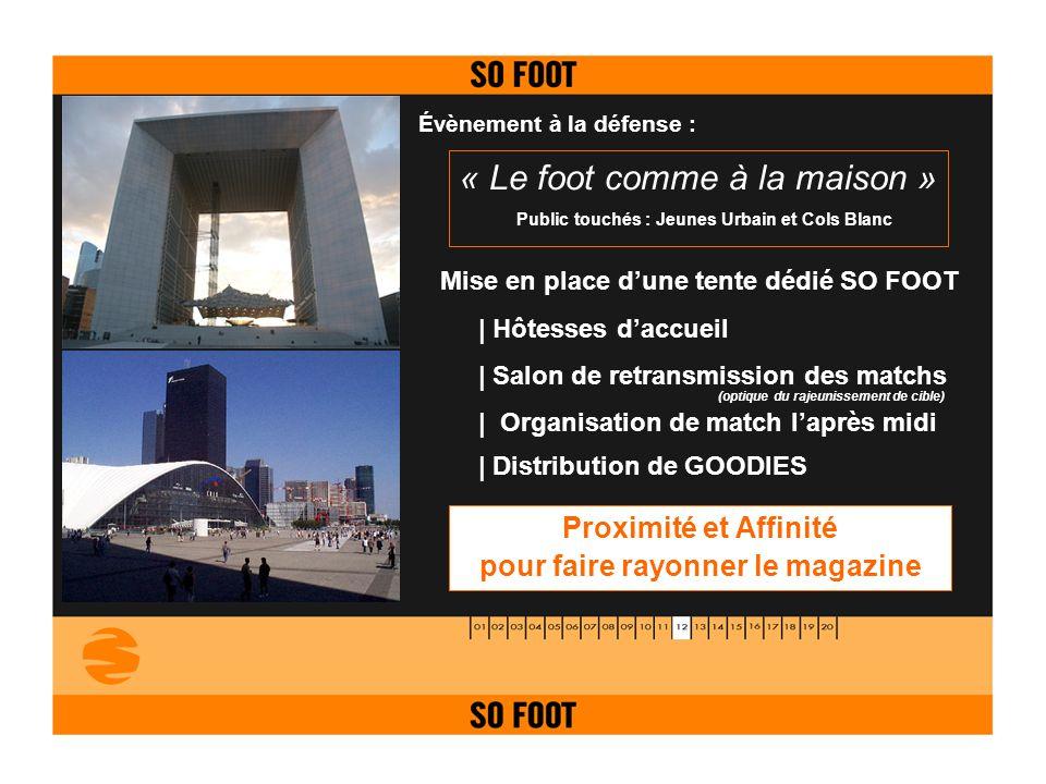 Évènement à la défense : « Le foot comme à la maison » Mise en place dune tente dédié SO FOOT   Hôtesses daccueil   Salon de retransmission des matchs