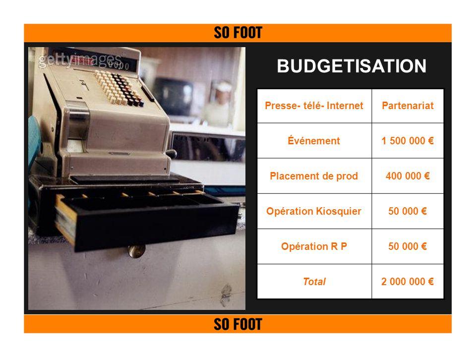 BUDGETISATION Presse- télé- InternetPartenariat Événement1 500 000 Placement de prod400 000 Opération Kiosquier50 000 Opération R P50 000 Total2 000 0