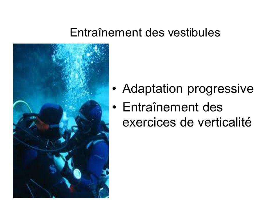 Entraînement des vestibules Adaptation progressive Entraînement des exercices de verticalité