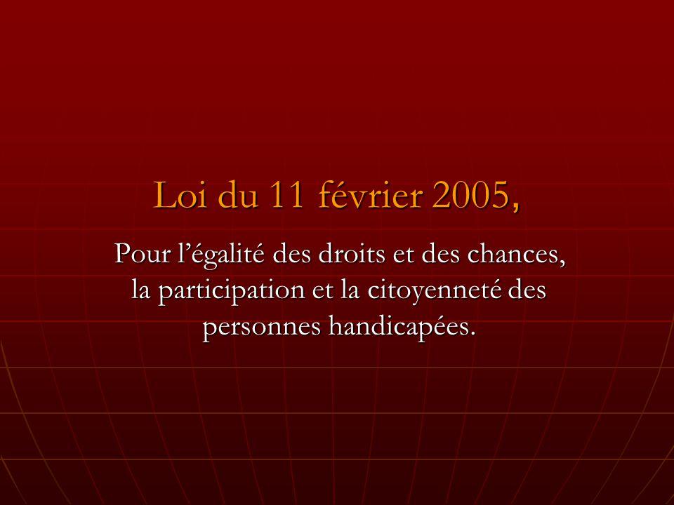 Loi du 11 février 2005, Pour légalité des droits et des chances, la participation et la citoyenneté des personnes handicapées.