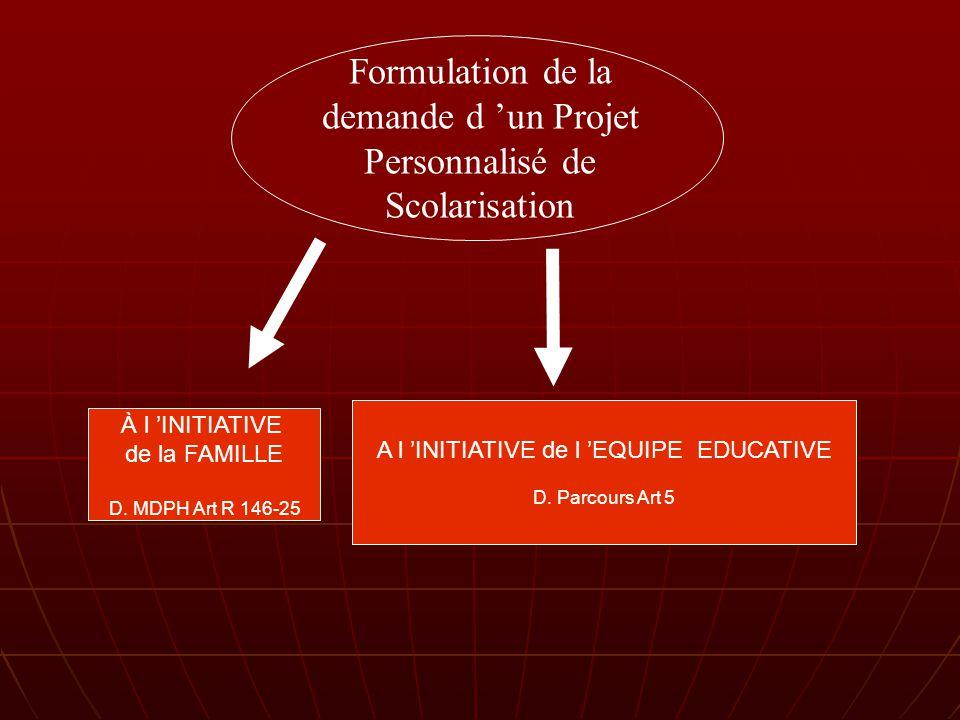 Formulation de la demande d un Projet Personnalisé de Scolarisation À l INITIATIVE de la FAMILLE D.