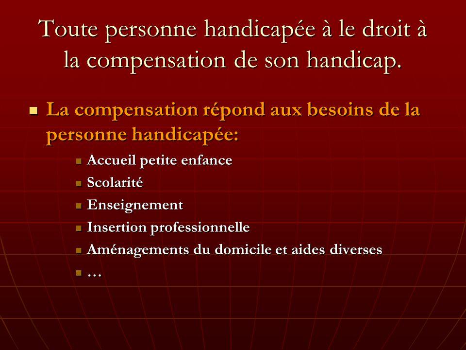 Toute personne handicapée à le droit à la compensation de son handicap.