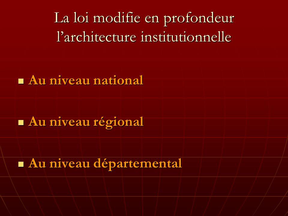 La loi modifie en profondeur larchitecture institutionnelle Au niveau national Au niveau national Au niveau régional Au niveau régional Au niveau départemental Au niveau départemental