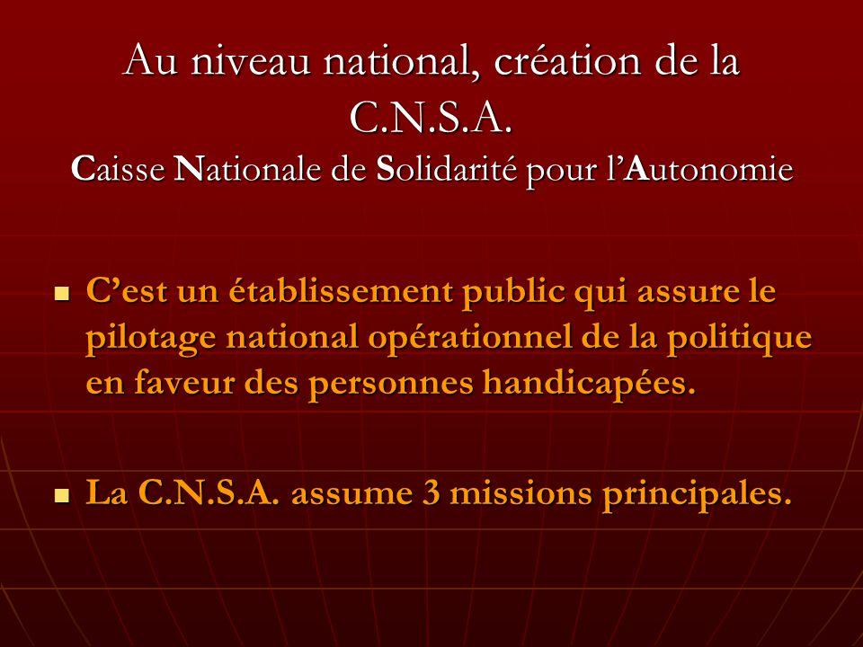 Au niveau national, création de la C.N.S.A.