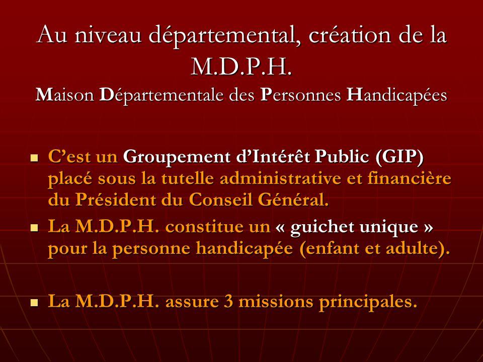 Au niveau départemental, création de la M.D.P.H.