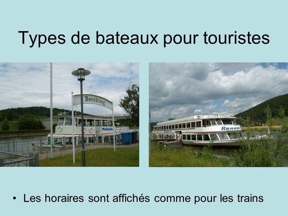 Types de bateaux pour touristes Les horaires sont affichés comme pour les trains