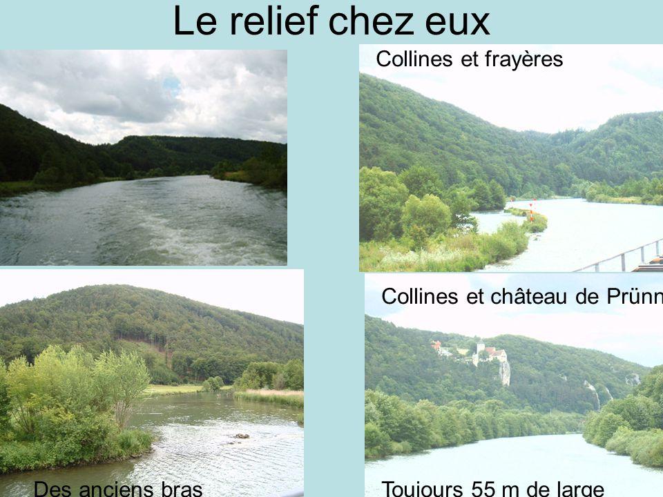 Le relief chez eux Des collines Collines et frayères Des anciens brasToujours 55 m de large Collines et château de Prünn