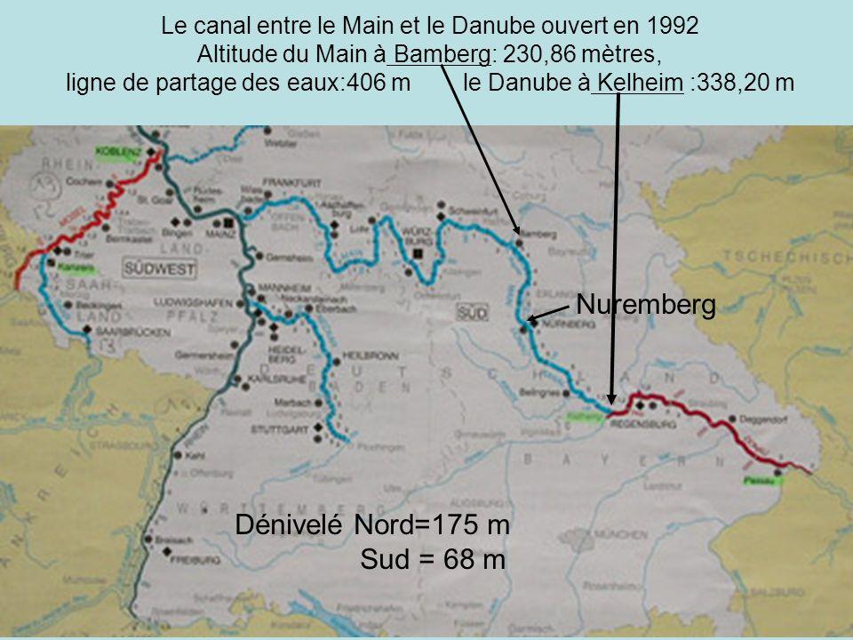 Le canal entre le Main et le Danube ouvert en 1992 Altitude du Main à Bamberg: 230,86 mètres, ligne de partage des eaux:406 m le Danube à Kelheim :338,20 m Nuremberg Dénivelé Nord=175 m Sud = 68 m