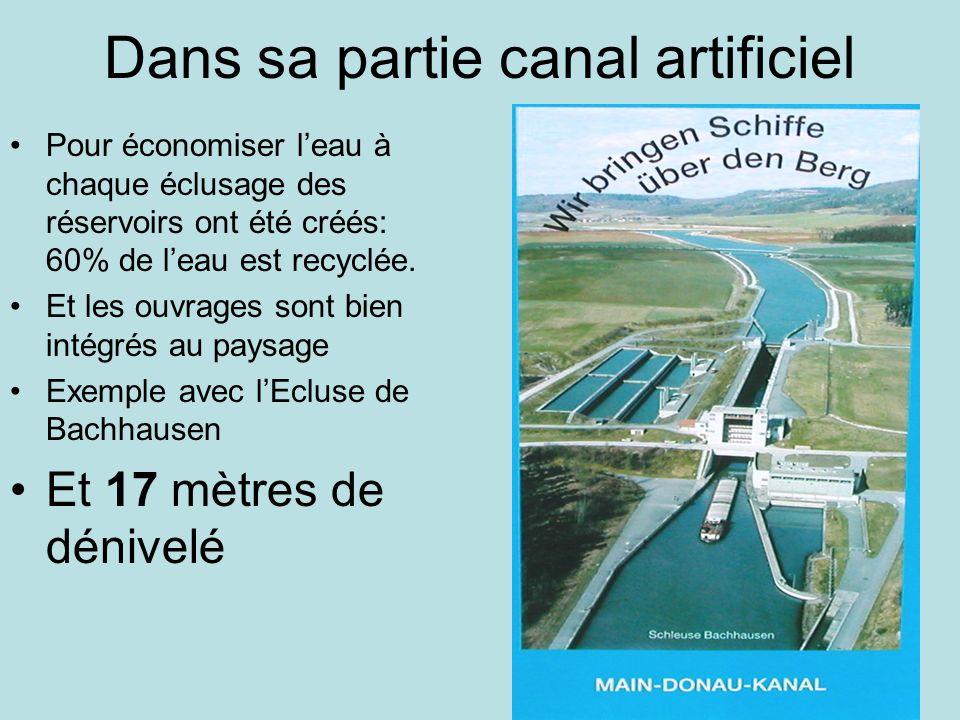 Dans sa partie canal artificiel Pour économiser leau à chaque éclusage des réservoirs ont été créés: 60% de leau est recyclée.