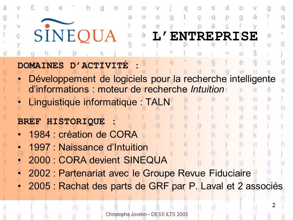 2 LENTREPRISE DOMAINES DACTIVITÉ : Développement de logiciels pour la recherche intelligente dinformations : moteur de recherche Intuition Linguistiqu