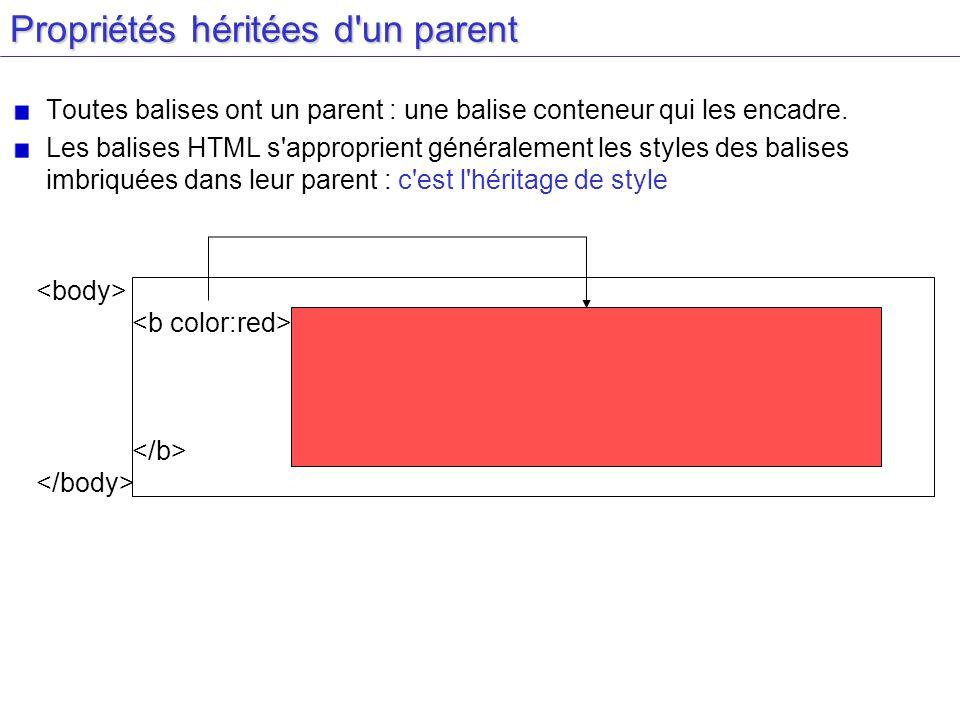 Propriétés héritées d un parent Toutes balises ont un parent : une balise conteneur qui les encadre.