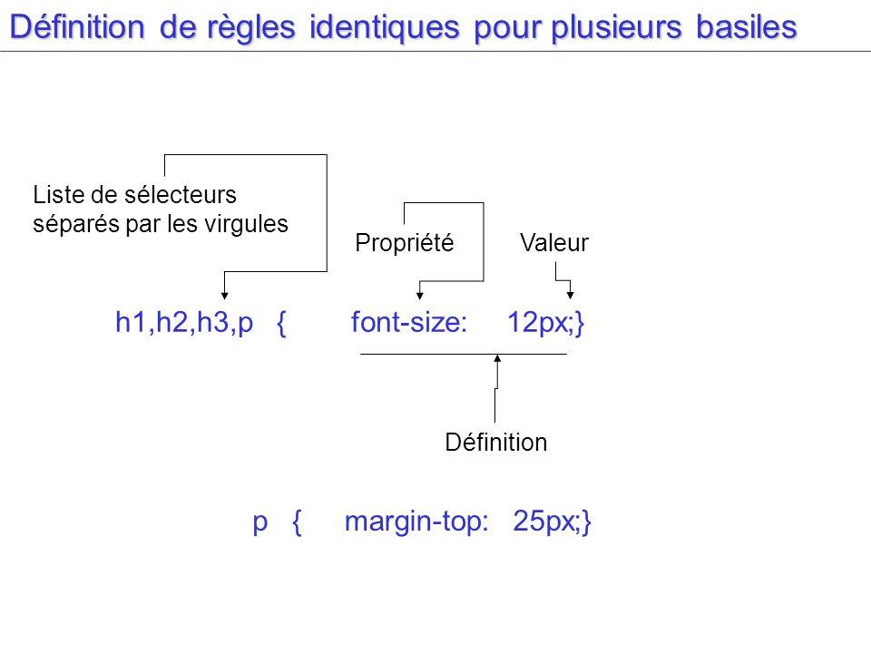 Définition de règles identiques pour plusieurs basiles Liste de sélecteurs séparés par les virgules h1,h2,h3,p {font-size:12px;} PropriétéValeur Défin