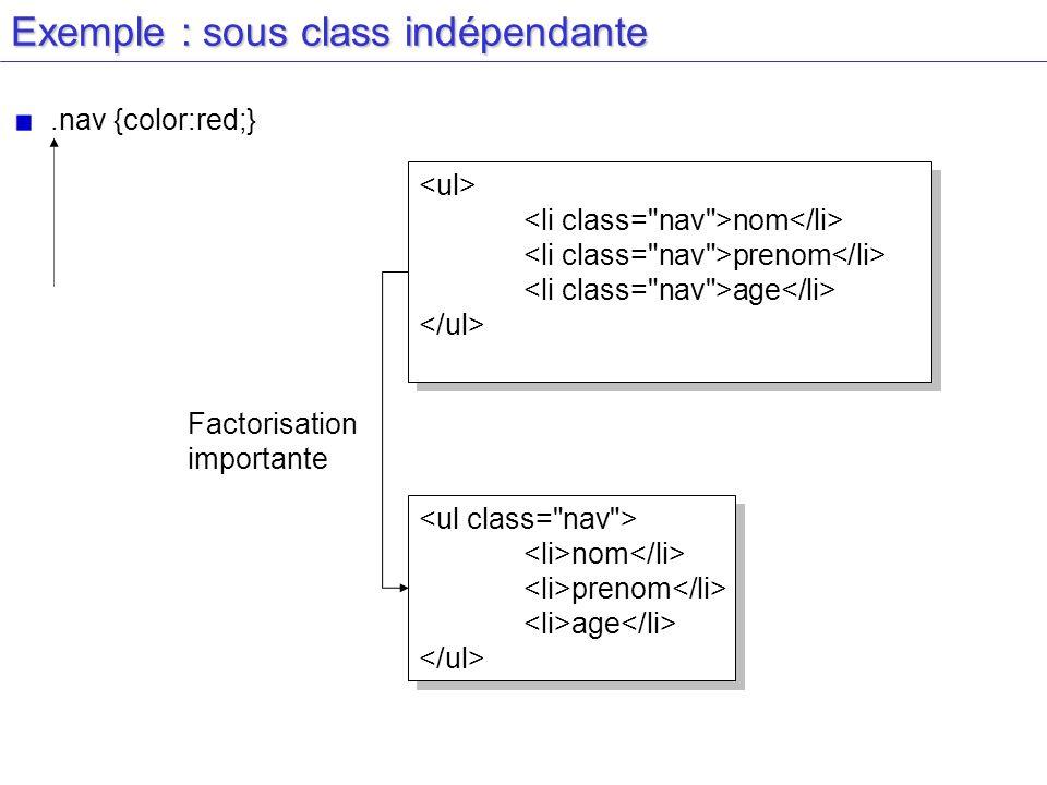Exemple : sous class indépendante.nav {color:red;} nom prenom age nom prenom age Factorisation importante