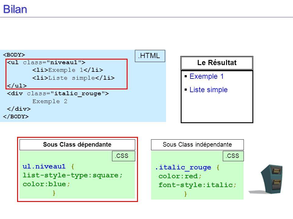 Exemple 1 Liste simple Exemple 2 Bilan. italic_rouge { color:red; font-style:italic; } Sous Class indépendante.CSS Sous Class dépendante ul.niveau1 {