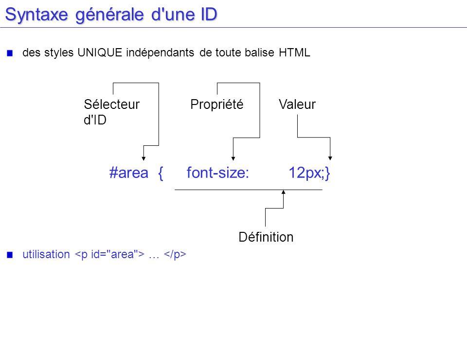 Syntaxe générale d une ID des styles UNIQUE indépendants de toute balise HTML utilisation … Sélecteur d ID #area {font-size:12px;} PropriétéValeur Définition