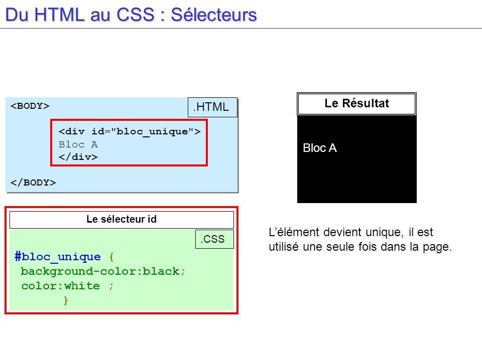Du HTML au CSS : Sélecteurs Bloc A Bloc A.HTML Le sélecteur id # bloc_unique { background-color:black; color:white ; }.CSS Le Résultat Bloc A Lélément devient unique, il est utilisé une seule fois dans la page.