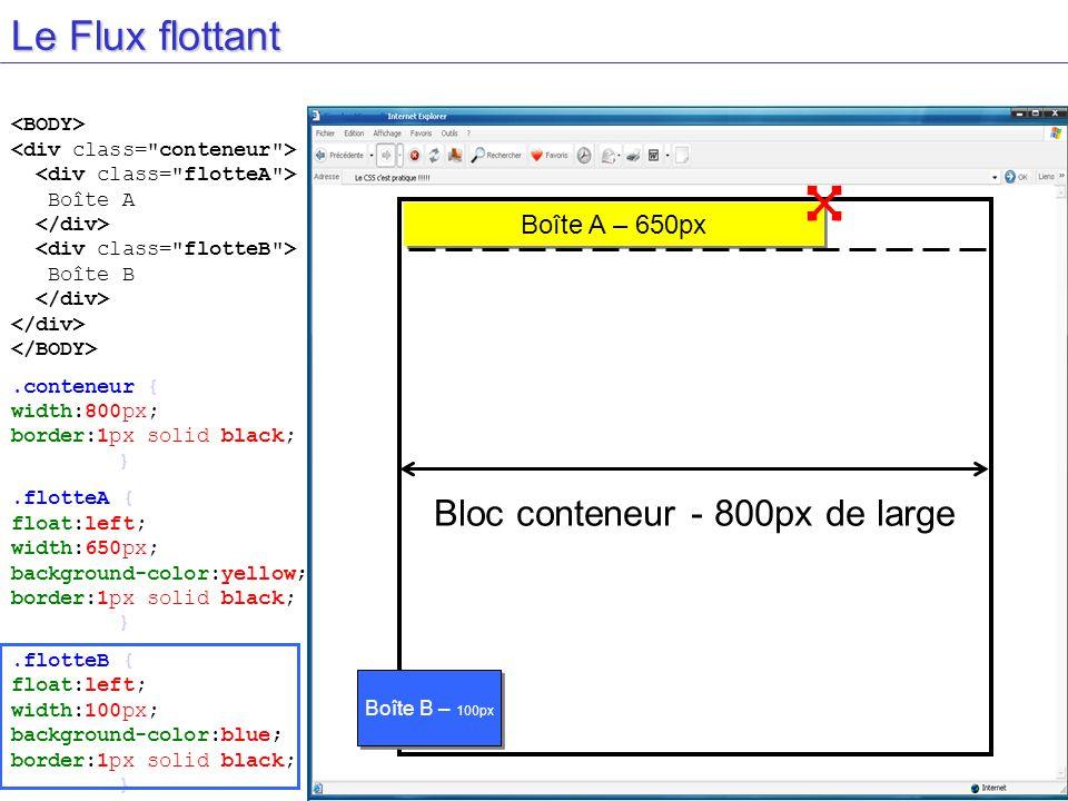 Le Flux flottant Bloc conteneur - 800px de large Boîte A Boîte B.conteneur { width:800px; border:1px solid black; }.flotteA { float:left; width:650px; background-color:yellow; border:1px solid black; }.flotteB { float:left; width:100px; background-color:blue; border:1px solid black; } Boîte A – 650px Boîte B – 100px