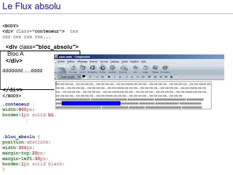 Le Flux absolu css css css css css... Bloc A ddddddd…..dddd.conteneur { width:800px; border:1px solid black; }.bloc_absolu { position:absolute; width:
