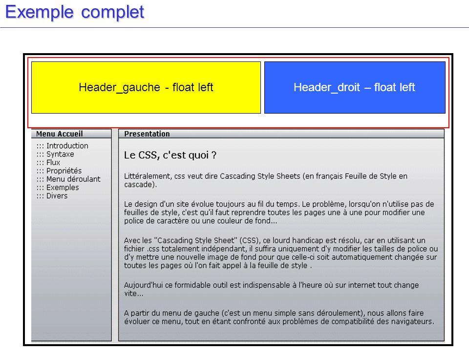 Exemple complet Header_gauche - float leftHeader_droit – float left