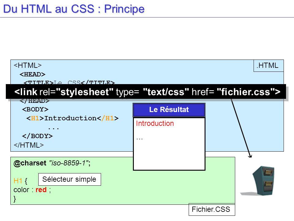 Du HTML au CSS : Principe Le CSS Introduction... @charset