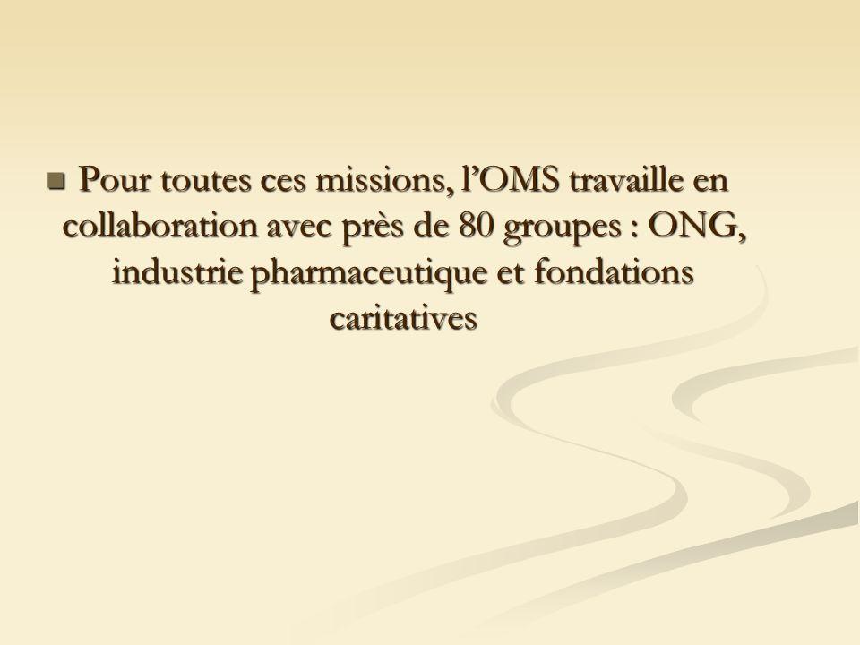 Pour toutes ces missions, lOMS travaille en collaboration avec près de 80 groupes : ONG, industrie pharmaceutique et fondations caritatives Pour toutes ces missions, lOMS travaille en collaboration avec près de 80 groupes : ONG, industrie pharmaceutique et fondations caritatives