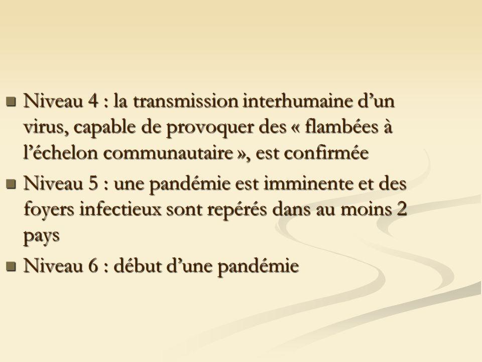 Niveau 4 : la transmission interhumaine dun virus, capable de provoquer des « flambées à léchelon communautaire », est confirmée Niveau 4 : la transmission interhumaine dun virus, capable de provoquer des « flambées à léchelon communautaire », est confirmée Niveau 5 : une pandémie est imminente et des foyers infectieux sont repérés dans au moins 2 pays Niveau 5 : une pandémie est imminente et des foyers infectieux sont repérés dans au moins 2 pays Niveau 6 : début dune pandémie Niveau 6 : début dune pandémie