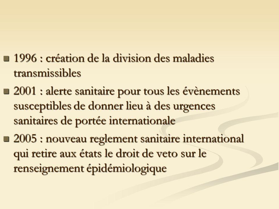 1996 : création de la division des maladies transmissibles 1996 : création de la division des maladies transmissibles 2001 : alerte sanitaire pour tou