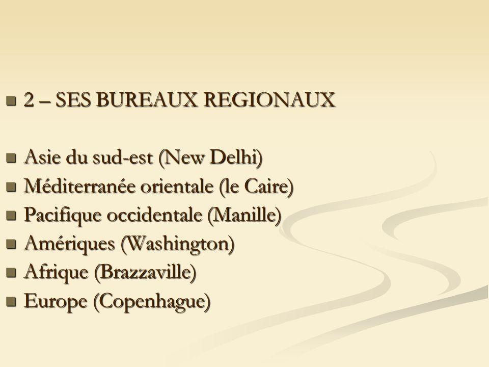 2 – SES BUREAUX REGIONAUX 2 – SES BUREAUX REGIONAUX Asie du sud-est (New Delhi) Asie du sud-est (New Delhi) Méditerranée orientale (le Caire) Méditerranée orientale (le Caire) Pacifique occidentale (Manille) Pacifique occidentale (Manille) Amériques (Washington) Amériques (Washington) Afrique (Brazzaville) Afrique (Brazzaville) Europe (Copenhague) Europe (Copenhague)