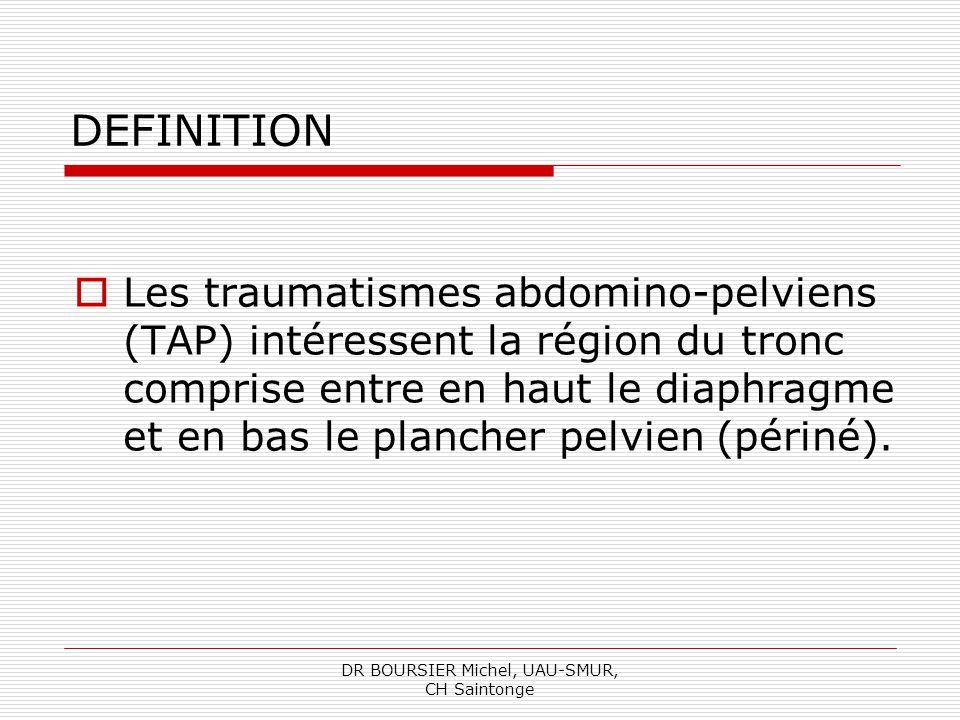 DR BOURSIER Michel, UAU-SMUR, CH Saintonge TRAUMATISMES ABDOMINO-PELVIENS Définition, Epidémiologie, Anatomie, Mécanismes lésionnels, Les lésions, Prise en charge, Conclusion.