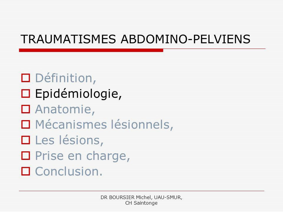 DR BOURSIER Michel, UAU-SMUR, CH Saintonge EPIDEMIOLOGIE 30 % de ces décès sont dus aux traumatismes abdominaux et dont la cause la plus fréquente est lhémorragie, 3 fois sur 4, il sagit dAVP, Le port de la ceinture réduit la mortalité de 40- 50%.