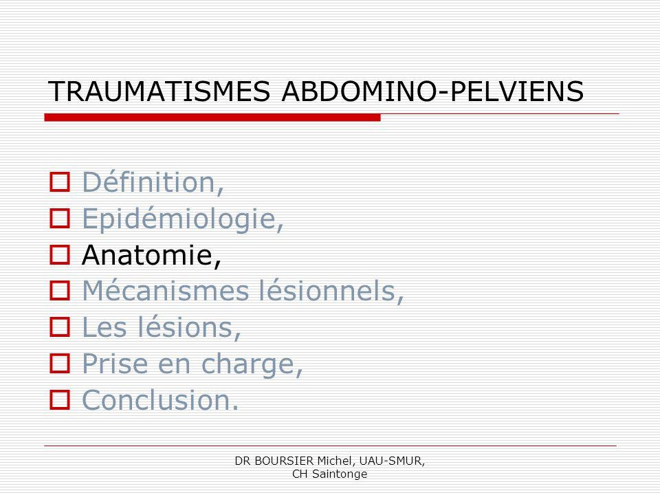 DR BOURSIER Michel, UAU-SMUR, CH Saintonge LES LESIONS Saignement intraviscéral, intracapsulaire ou dans la cavité péritonéal, lespace rétropéritonéal, le pelvis, par lésions vasculaires, Reins, rate, foie, >> Risque hémorragique +++ Des organes pleins: