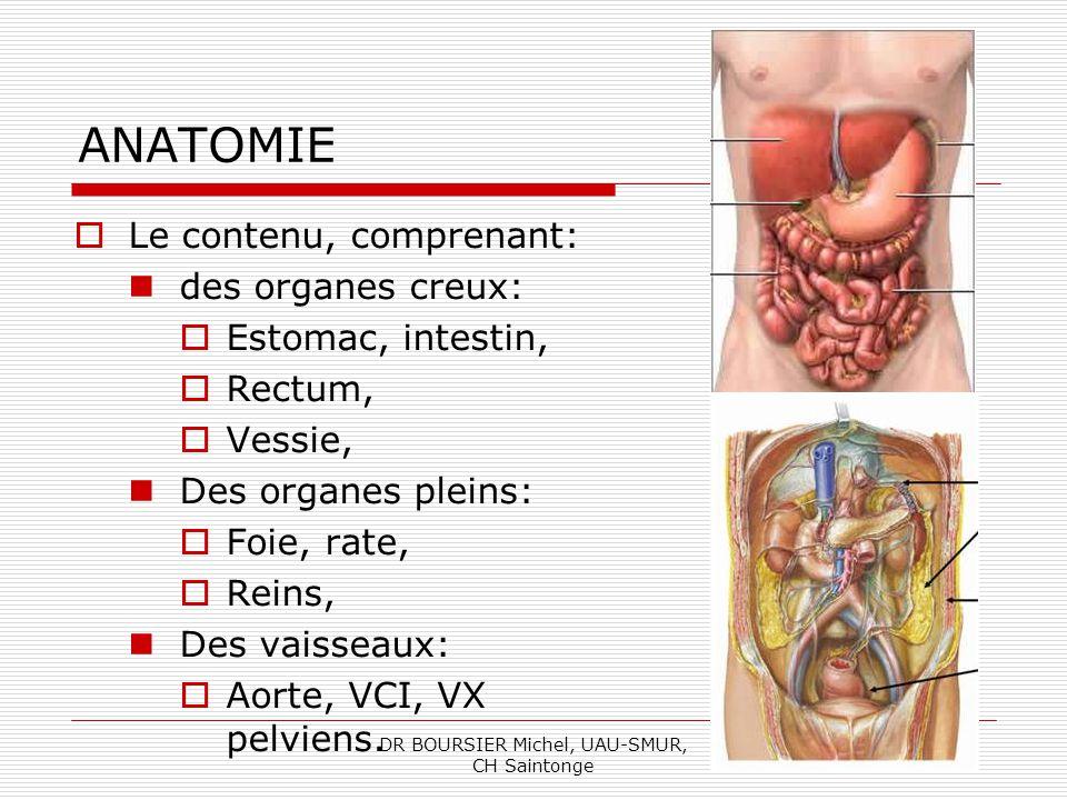 DR BOURSIER Michel, UAU-SMUR, CH Saintonge ANATOMIE Organes répartis dans: La cavité péritonéale (estomac, foie, rate, intestin), Lespace rétropéritonéal (reins, gros vaisseaux), Le pelvis (vessie, rectum).