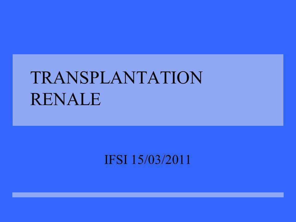 Complications chirurgicales Infections locales Lymphocèle Saignements Thrombose veineuse ou artérielles Sténose de l artère rénale Urinome Obstruction urétérale