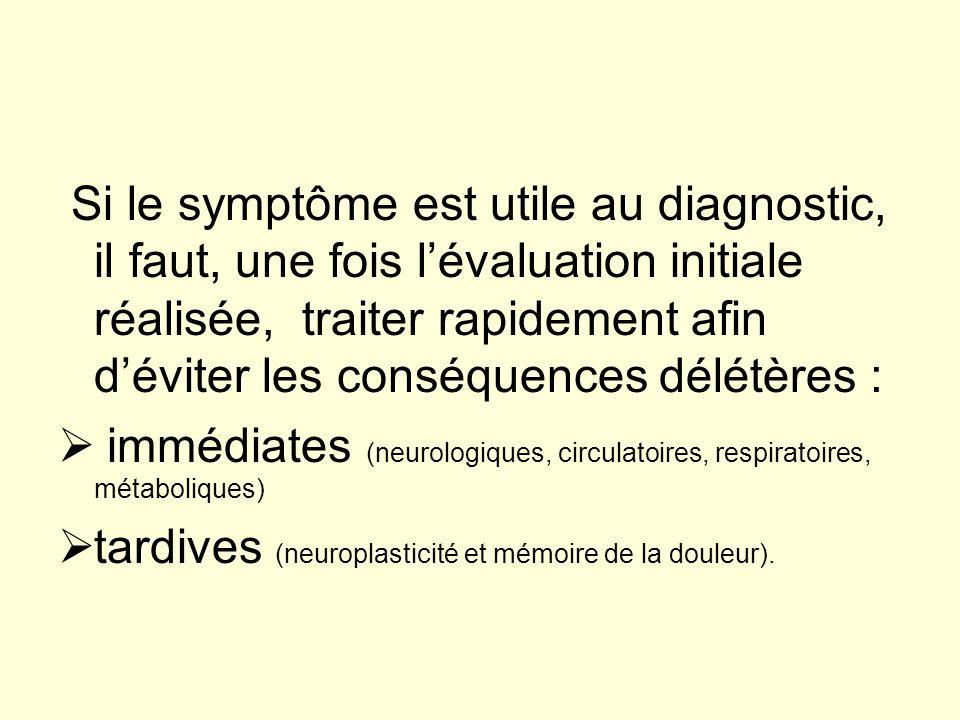 Si le symptôme est utile au diagnostic, il faut, une fois lévaluation initiale réalisée, traiter rapidement afin déviter les conséquences délétères :