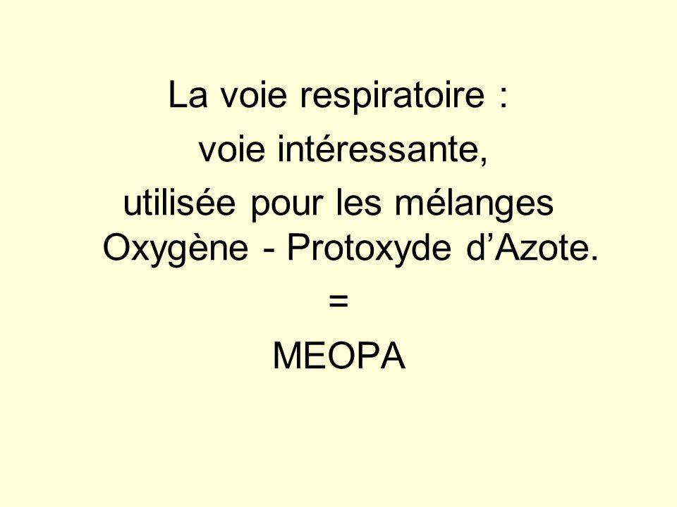 La voie respiratoire : voie intéressante, utilisée pour les mélanges Oxygène - Protoxyde dAzote. = MEOPA