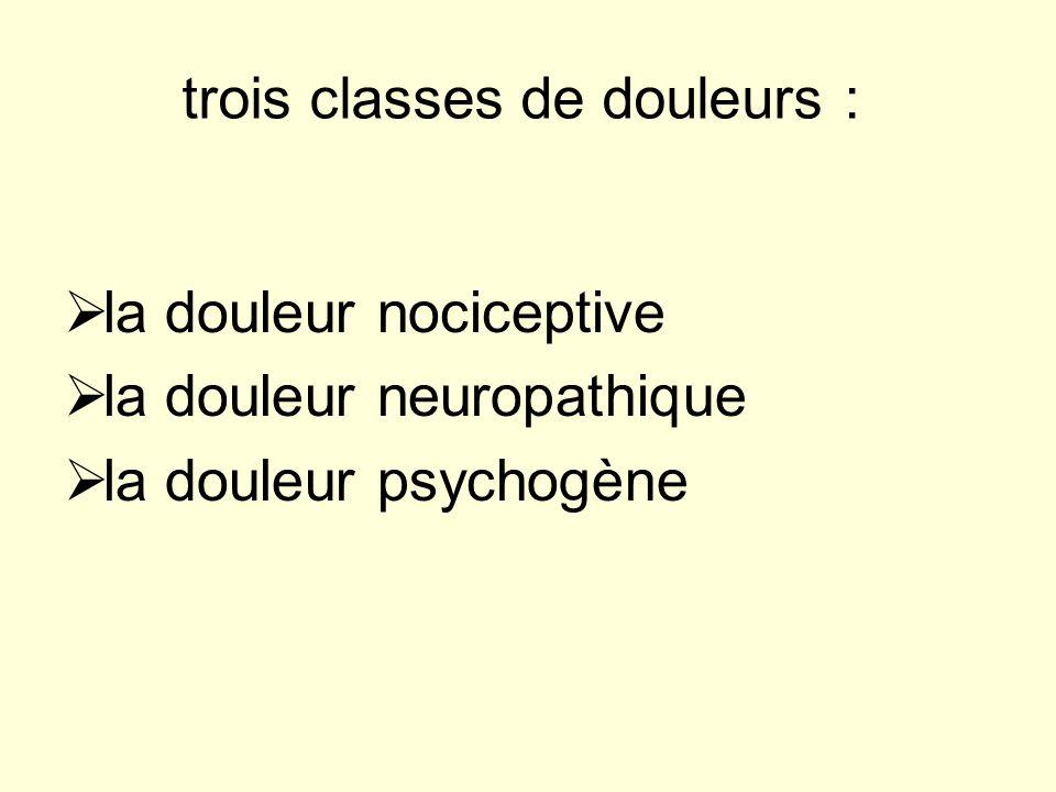 trois classes de douleurs : la douleur nociceptive la douleur neuropathique la douleur psychogène
