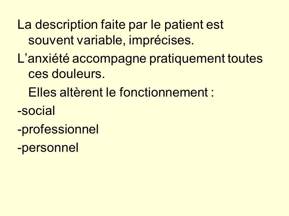 La description faite par le patient est souvent variable, imprécises. Lanxiété accompagne pratiquement toutes ces douleurs. Elles altèrent le fonction