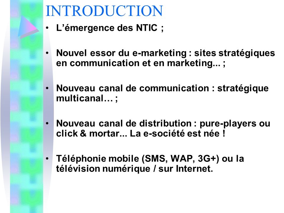 INTRODUCTION Lémergence des NTIC ; Nouvel essor du e-marketing : sites stratégiques en communication et en marketing... ; Nouveau canal de communicati