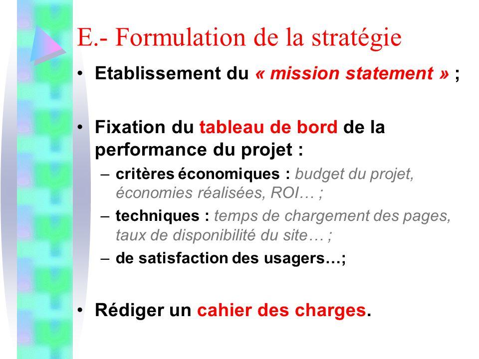 E.- Formulation de la stratégie Etablissement du « mission statement » ; Fixation du tableau de bord de la performance du projet : –critères économiqu