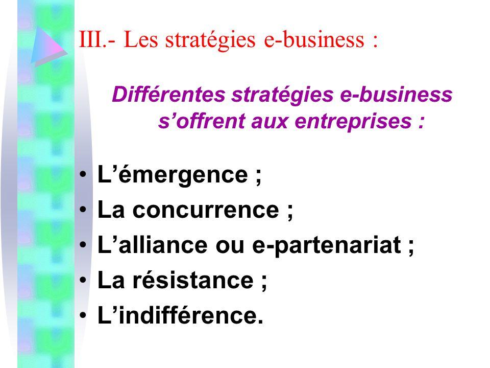 III.- Les stratégies e-business : Différentes stratégies e-business soffrent aux entreprises : Lémergence ; La concurrence ; Lalliance ou e-partenaria