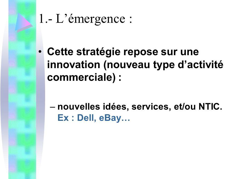 1.- Lémergence : Cette stratégie repose sur une innovation (nouveau type dactivité commerciale) : –nouvelles idées, services, et/ou NTIC. Ex : Dell, e